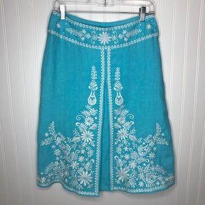 Silkland 100% linen woman size 6 light blue skirt